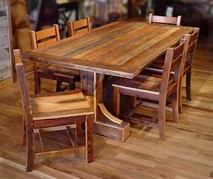 reclaimed barn wood furniture with special character and charm With chairs for barnwood table