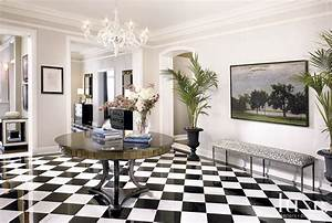 Contemporary, White, Foyer, With, Checkered, Tile, Floors