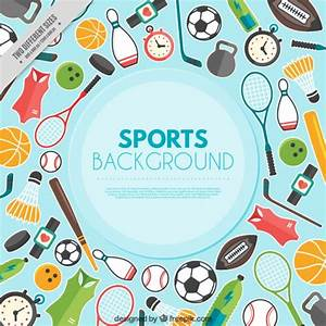 sports day poster template - background with sporty elements in flat design vector