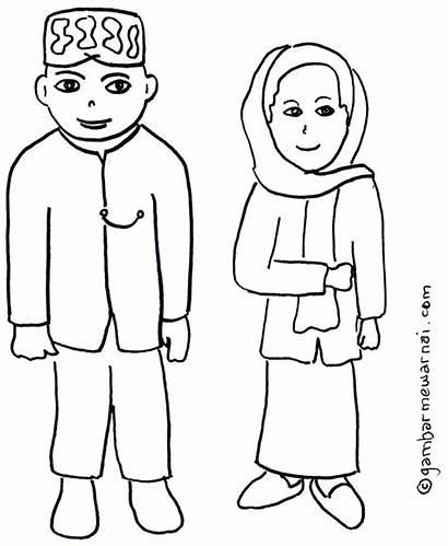 Adat Mewarnai Gambar Pakaian Baju Betawi Kartun