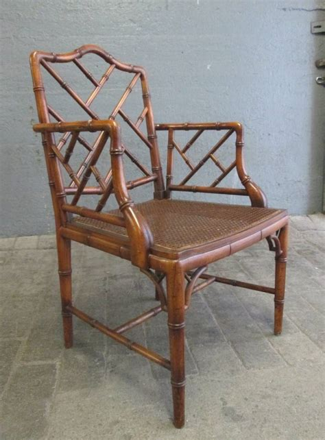 pair faux bamboo chippendale style arm chairs for