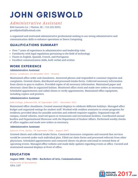 resume exles 2017 administrative assistant svoboda2 com