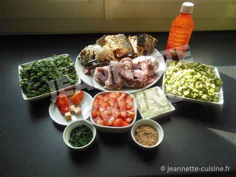 cuisine du poisson sauce feuilles de patates douces au gombo et huile