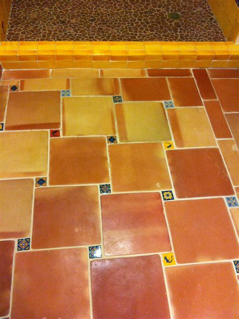 saltillo floor tile in the bathroom and shower mexican