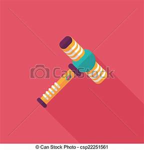 Clip Art Vector of toy hammer flat icon with long shadow ...