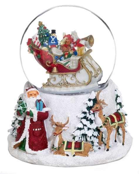 large snow globes christmas large santa sleigh musical snow globe personalized table top decoration ornament shop