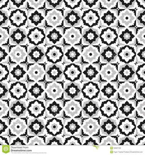 seamless pattern ceramic black and white tile design stock vector image 50691129