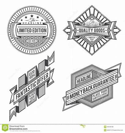 Retro Banners Outline Ribbon Labels Vector Label