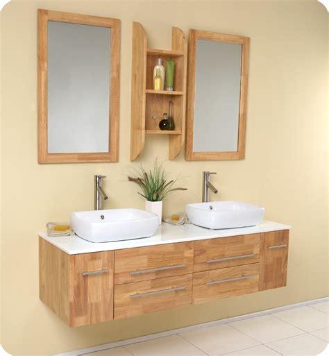 natural wood modern double vessel sink bathroom vanity