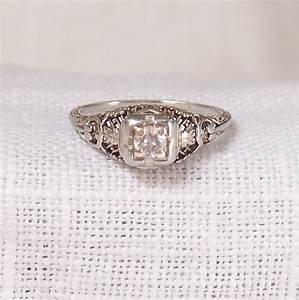 art deco 14k gold diamond engagement ring 22 carat With 22 carat gold wedding ring
