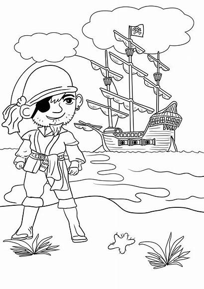 Pirate Colouring Coloring Pages Printable Pirates Treasure