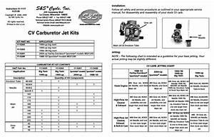 S U0026s Cycle Cv Carburetor Jet Kits User Manual