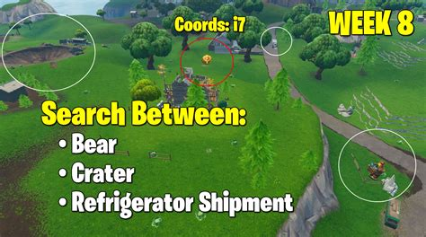 Fortnite Week 8 Search Between A Bear, Crater, And