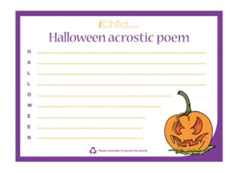 Halloween Acrostic Poem Ideas by Halloween Acrostic Poem Ichild