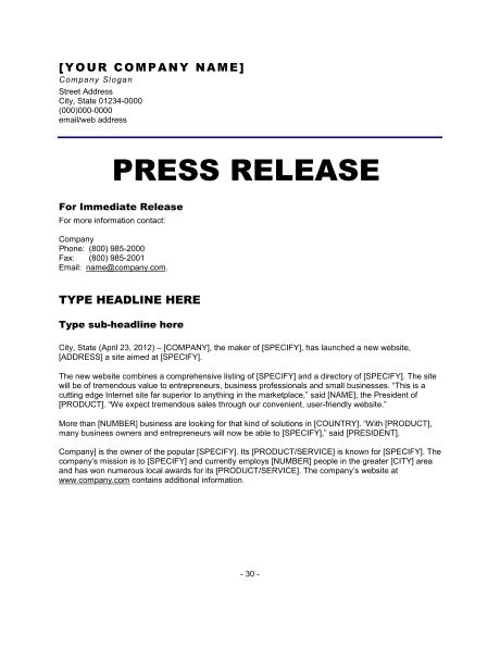 press release templates excel  formats