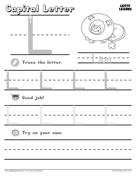 Capital Letter L  Lotty Learns  Abc Printables (uppercase)  Pinterest  Learning And Worksheets