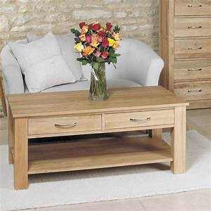 Mobel Solid Oak 4 Drawer Coffee Table Space Shape