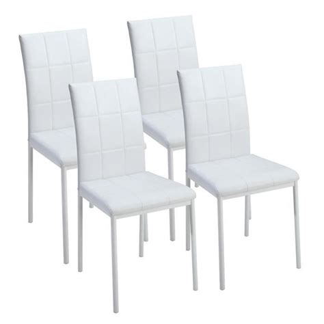 lot chaises salle à manger dona lot de 4 chaises de salle à manger blanches achat vente chaise salle a manger pas cher