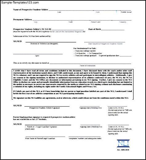 ncaa letter  intent sample national letter  intent