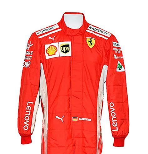 Harley davidson leather cafe racer jacket no. 2018 Sebastian Vettel Race Worn Scuderia Ferrari F1 Suit - Racing Hall of Fame Collection