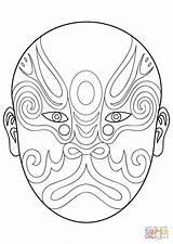 Mask Opera Chinese Coloring Pages Drawing Printable Phantom Mayan Goalie Para Masks Mascaras Colorear Africanas Beijing Supercoloring Imprimir Template Pesquisa sketch template
