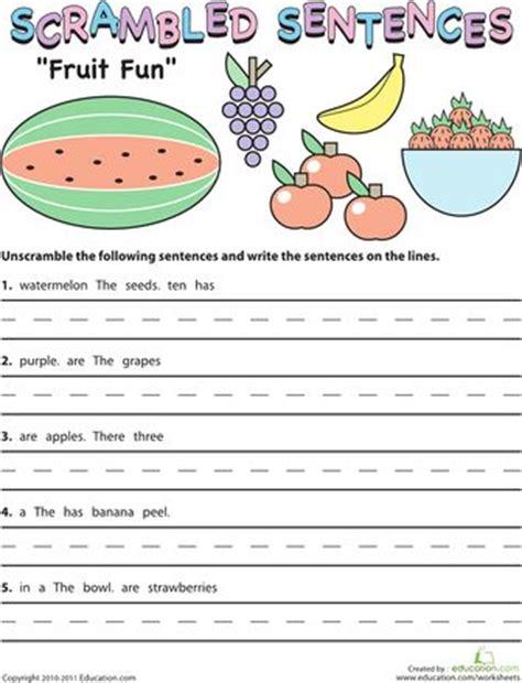 worksheets for 2nd grade fun scrambled sentences fruit fun sentences and worksheets