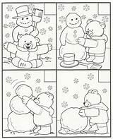 Winter Kindergarten Coloring Bear Printable Snowman sketch template