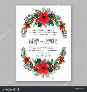 Poinsettia wedding invitation sample card beautiful winter for Wedding invitation flower ornaments