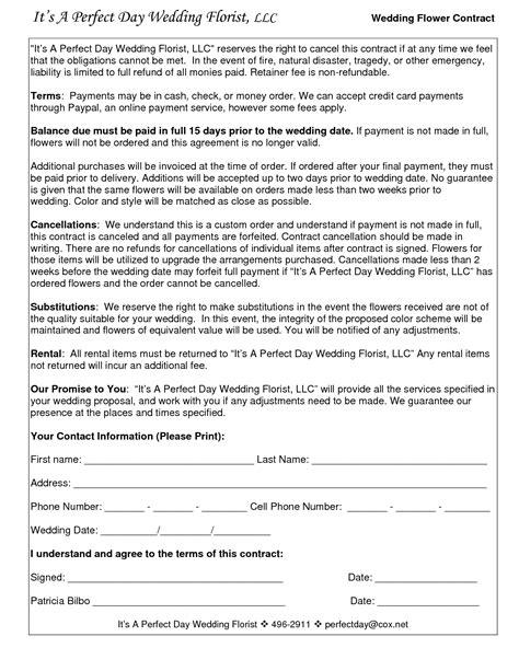 wedding flower contracts wedding florist contract