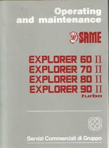 Same Tractor Explorer 60 70 80 90 Ii Turbo Operators Manual