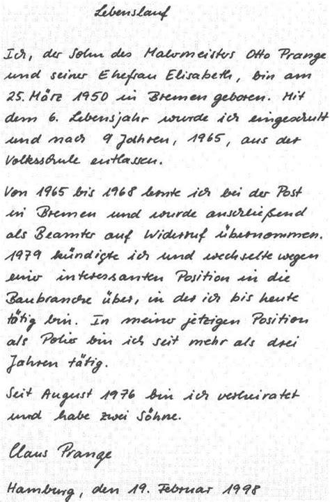 Schriftlicher Lebenslauf by Handgeschriebener Lebenslauf Vorlage Papac Info