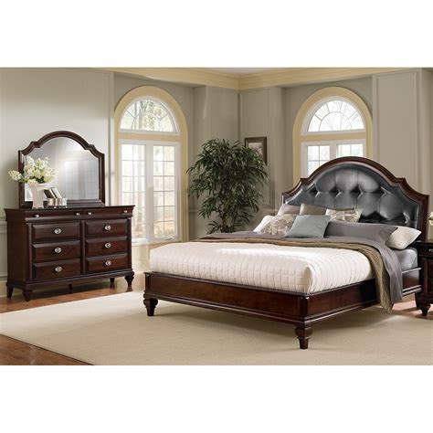 manhattan king upholstered bed cherry american