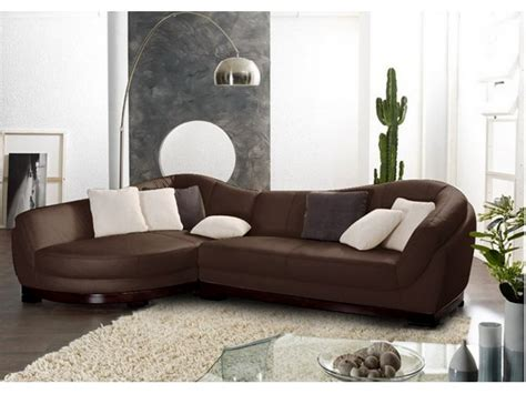 canap 233 angle et pouf cuir buffle ivoire chocolat ii