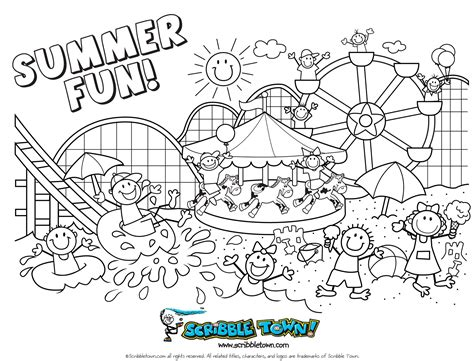 Happy Summer Coloring Page Getcoloringpagescom