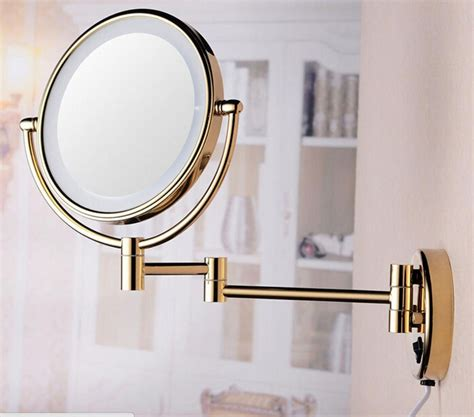 gold lighted makeup mirror new 8 inch bathroom 360 degree swivel wall mounted