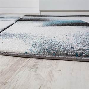 tapis design salon tapis poils ras chine turquoise gris With tapis salon poil ras
