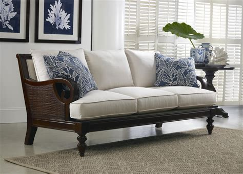 Tailynn Tropical Sofa With Exposed Wood And Scrolled Arms