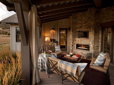 Rustic Outdoor Living Room With Stone Fireplace This