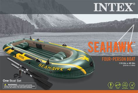 Inflatable Pool Boat With Oars by Intex Seahawk 4 Inflatable 4 Person Floating Boat Raft Set