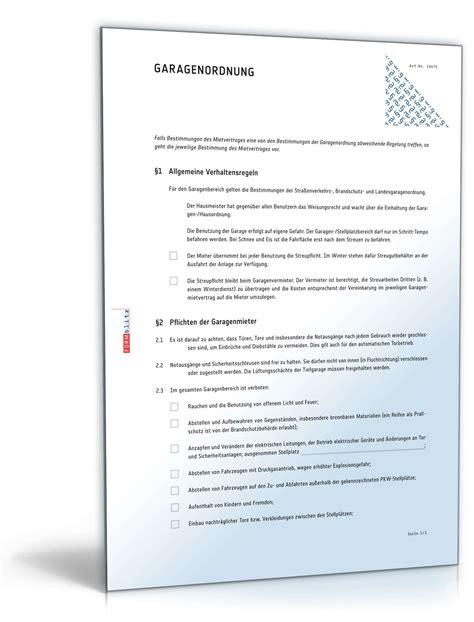 Vermietung Garage Steuer by Garagenordnung Anhang Zum Garagenmietvertrag Muster