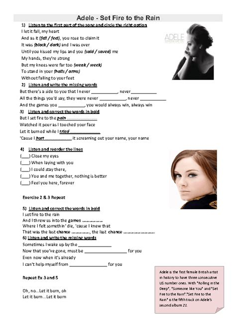 Song Worksheet Set Fire To The Rain By Adele ( Improved