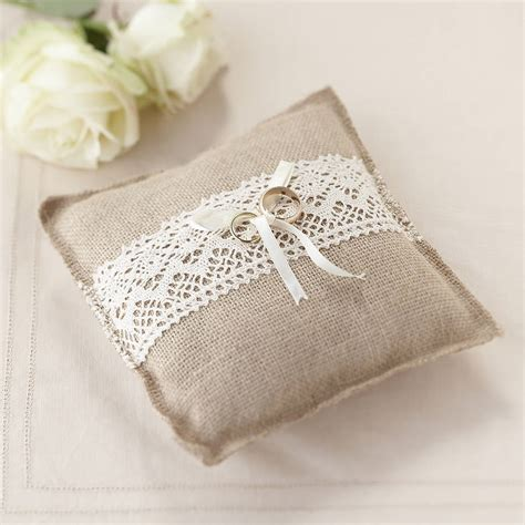 vintage rustic wedding hessian ring cushion by notonthehighstreet com