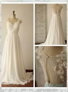 h1534 simple illusion lace back chiffon beach flowy With simple flowy wedding dress