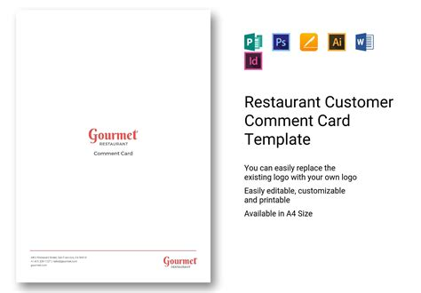 restaurant customer comment card template  psd word