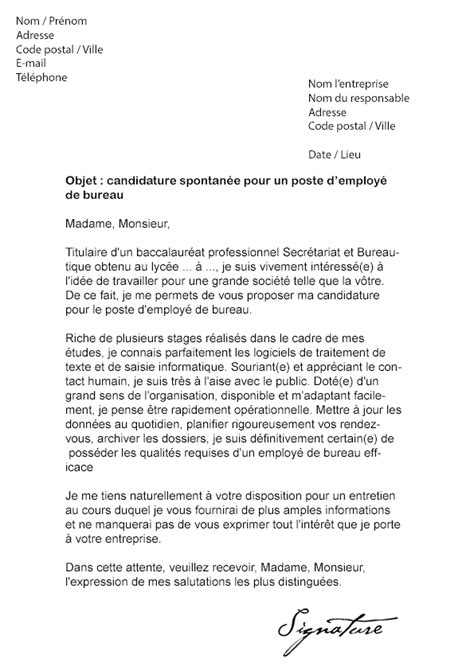 lettre de motivation employ 233 de bureau mod 232 le de lettre