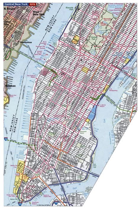 detailed road map  manhattan nyc manhattan detailed