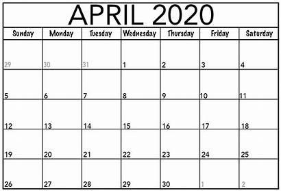 Calendar Printable April Monthly Template Pdf Blank