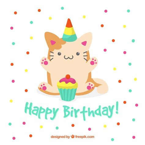 birthday background  cute cat vector