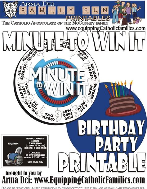 Celebrate a wedding, birthday, anniversary, or graduation. Minute To Win It with FREE Printable | Minute to win it ...