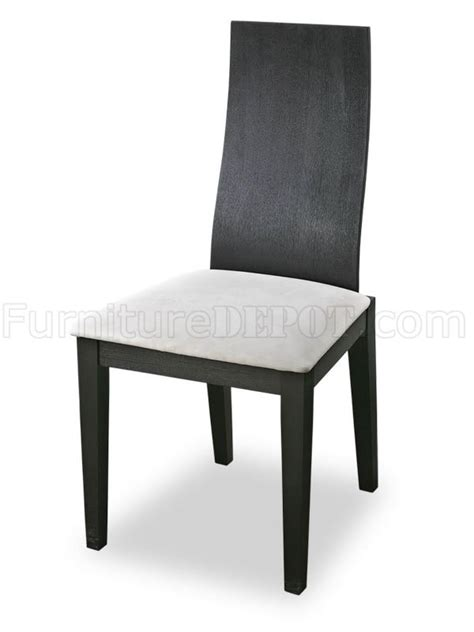 two pairs of modern dining chairs with microfiber upholstery